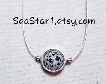 JASPER (DALMATIAN) Stone Sphere Necklace
