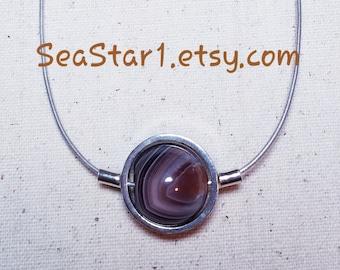 BOTSWANA AGATE Stone Sphere Necklace