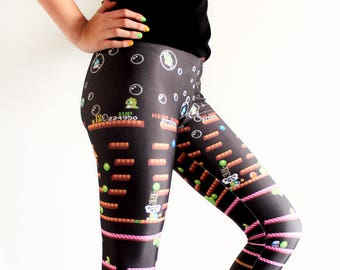 87e6710c8 Bubble Bobble Leggings Video Game Comicon Cosplay Retro Gamer Women s Tights