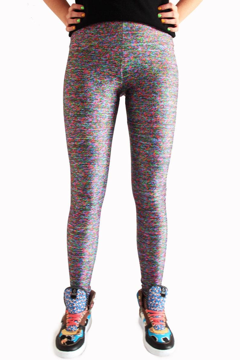 afadde5adb4f8 VHS Leggings Texture Leggings RGB Tights Funky Workout | Etsy