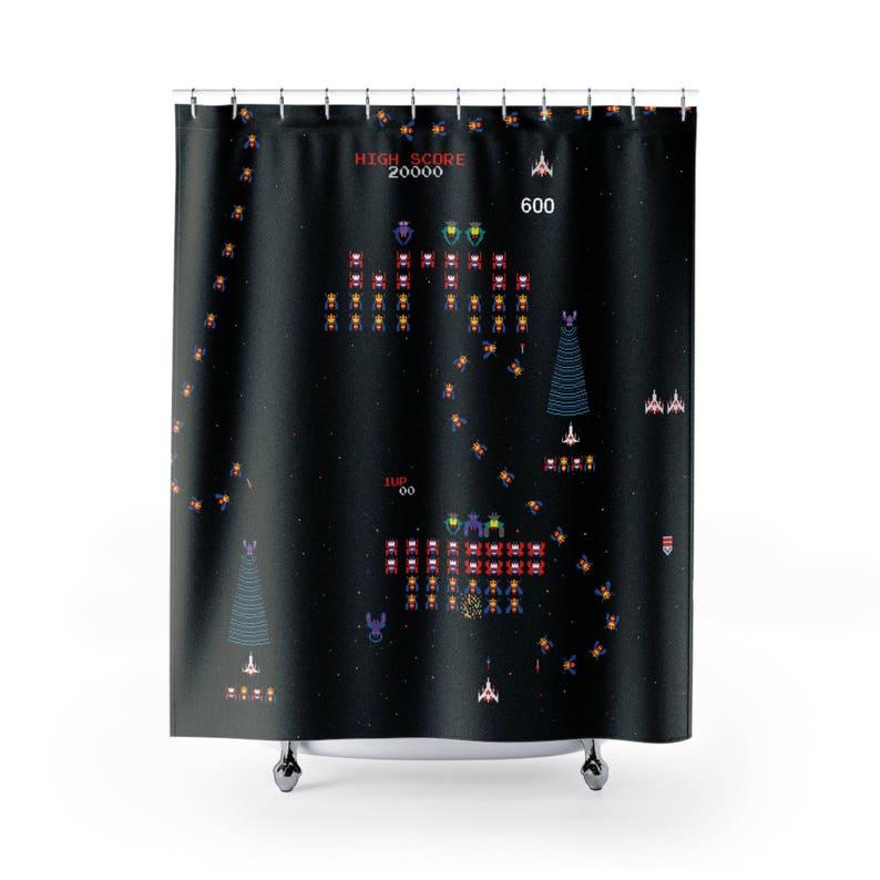 Galaga Shower Curtain Video Game Unique