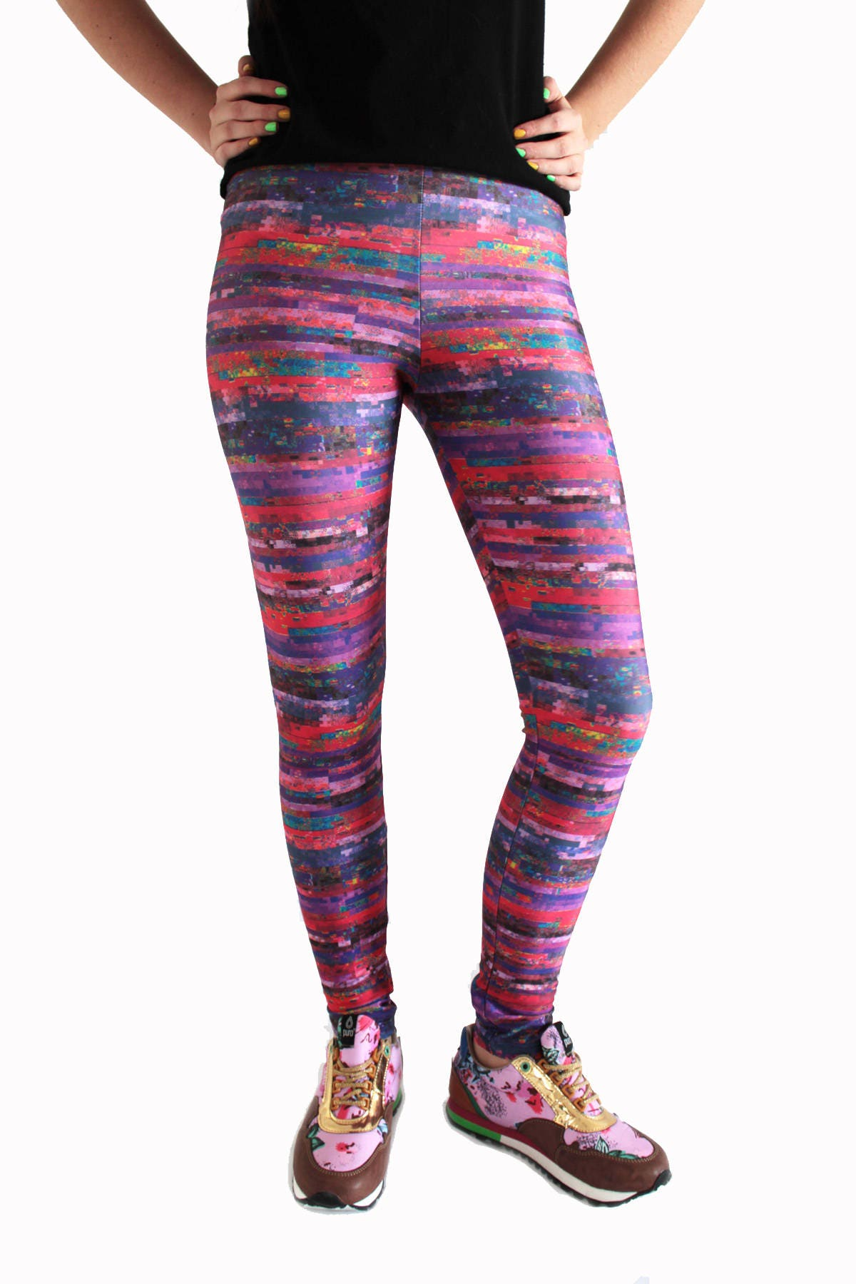 c4f09ee121042 Glitch Leggings Noise Texture Tights Funky Workout Pink | Etsy