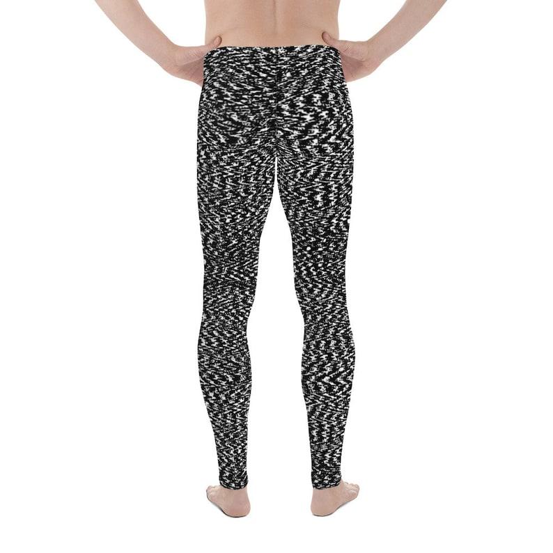 c06b570b343b4 Noise Men's Leggings Textured Meggings Black and White | Etsy