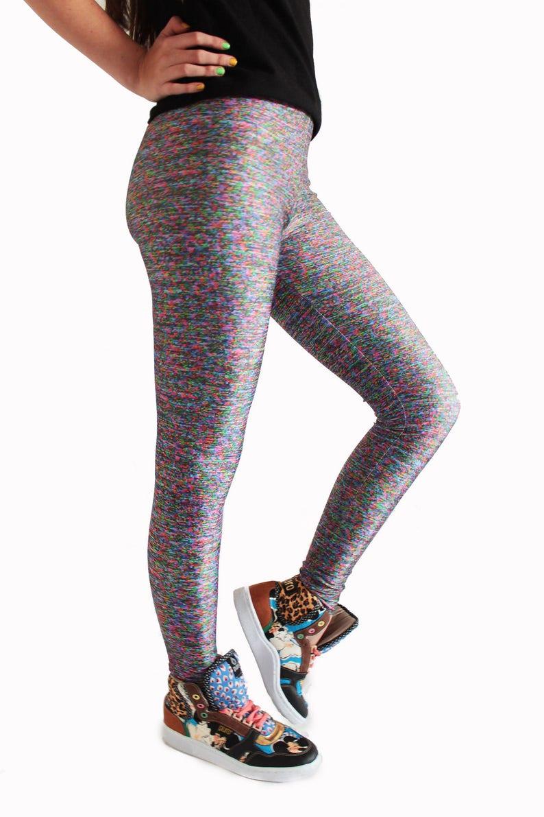 5b2666717e VHS Leggings, Texture Leggings, RGB Tights, Funky Workout Leggings, Cool  Gym Leggings, Noise Tights, Capri Leggings, Festival Leggings