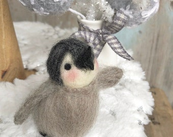 One Needle Felted Baby Penguin Winter Tiered Tray Decor