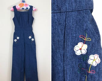 70s Hippie Denim Floral Rainbow Sleeveless Jumpsuit, Size XS Petite Teen