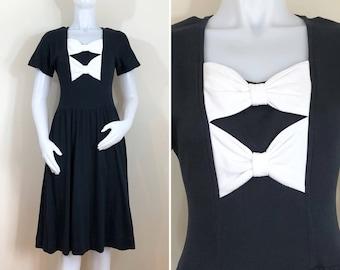 80s Lanz Black and White Bow Midi Dress, Size Small to Medium