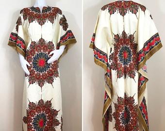 70s Style Cream Multicolor Feather Hippie Dashiki Kaftan Maxi Dress, Size Large to XL