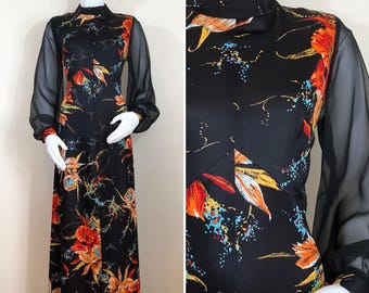 70s Black Orange Floral Sheer Long Sleeve Maxi Dress, Size Large