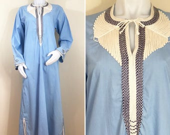 70s Light Blue Embroidered Kaftan Maxi Dress, Women's Medium or Men's Small
