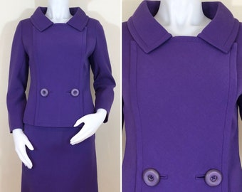 RARE 60s Norman Hartnell Mod Purple Wool Suit, Two Button Blazer and Mini Skirt, Size XS to Small