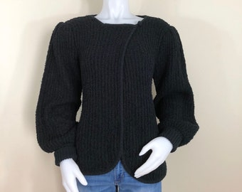 80s Littlewood & Green Black Boucle Knit Cardigan Sweater, Size Small to Medium