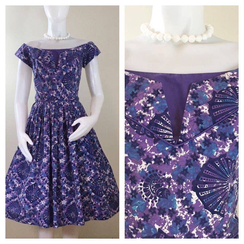 50s Miami Casuals Purple Shell Floral Print Cotton Fit and image 0