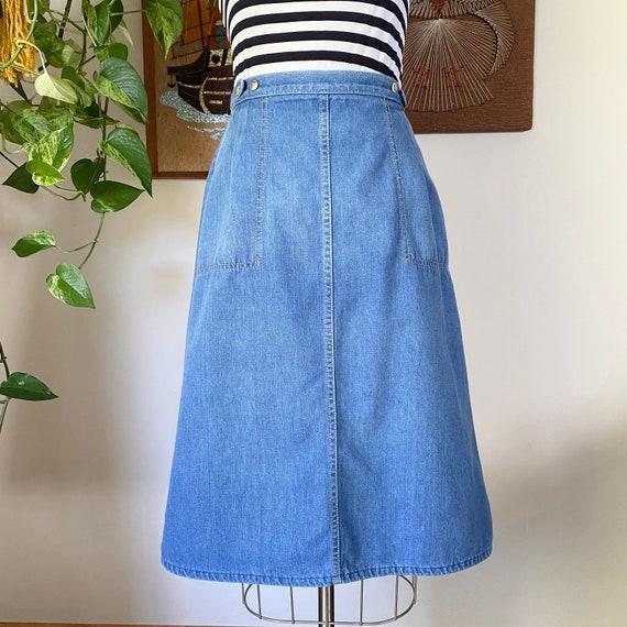 70s Vintage Light Blue Denim A-line Wrap Skirt, Si