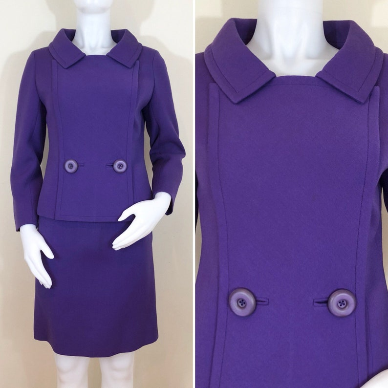 RARE 60s Norman Hartnell Mod Purple Wool Suit Two Button image 0