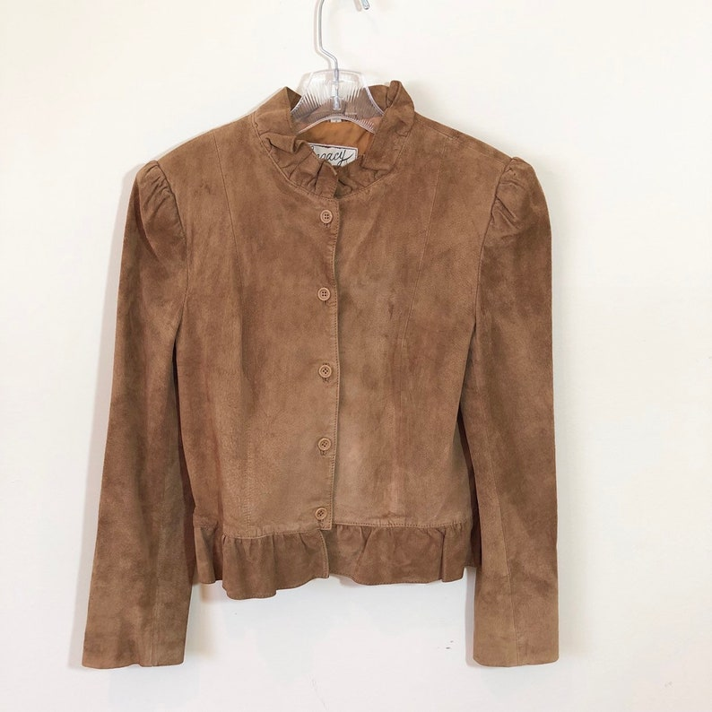 80s Legacy Cognac Tan Brown Suede Ruffle Jacket Small image 0