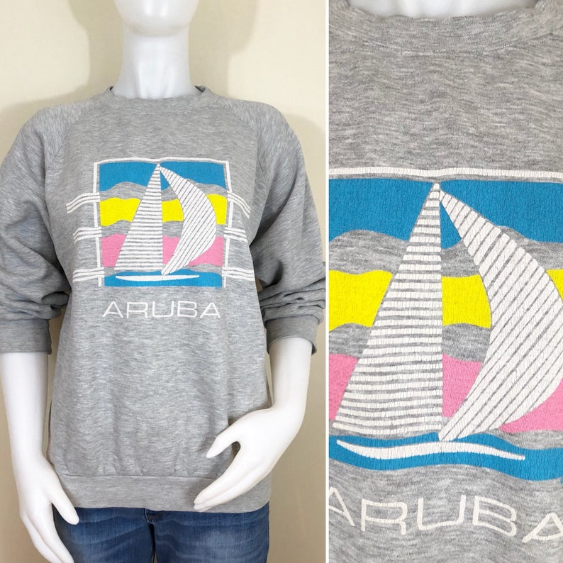 80s Aruba Sailboat Gray Heather Sweatshirt Size Large to XL image 0