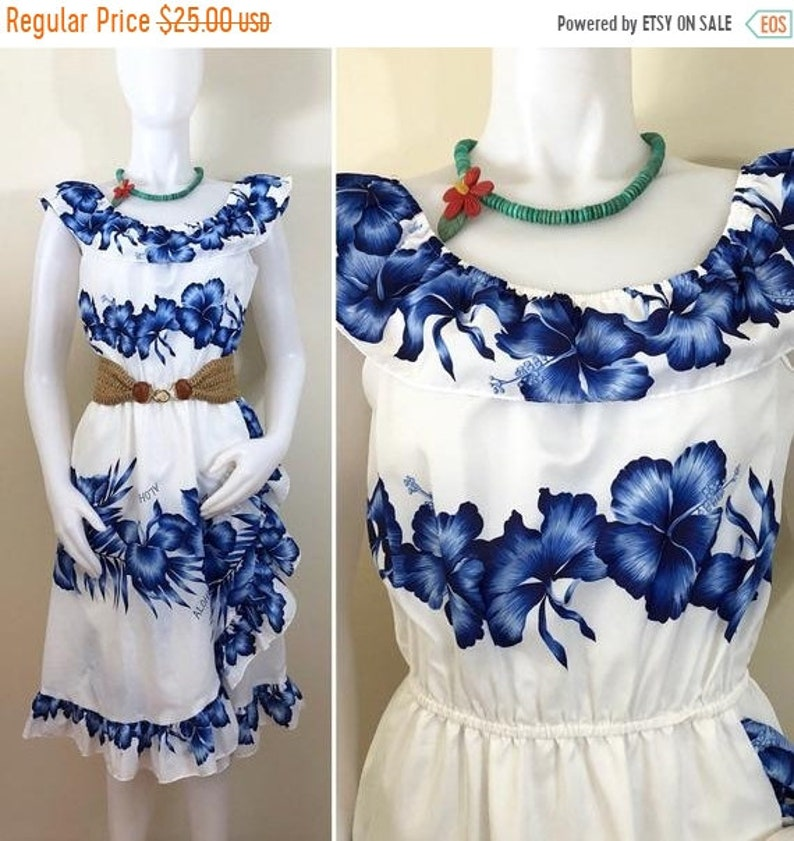 6d6e12b5604954 20% OFF Sale 80s Royal Creations Hawaii White and Blue Floral