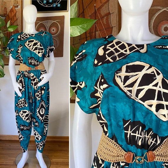 80s 90s Vintage All That Jazz Teal Green Exotic Pr