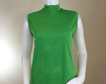 70s Green Mock Neck Sleeveless Back Zip Top, Medium
