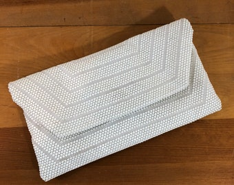 50s 60s White Plastic Mesh Clutch or Shoulder Strap Purse, Small Size