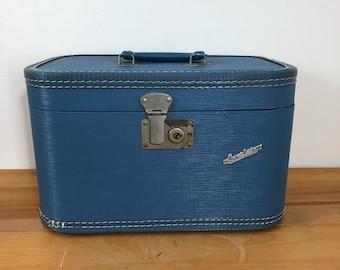 50s Carilite Steel Blue Train Case