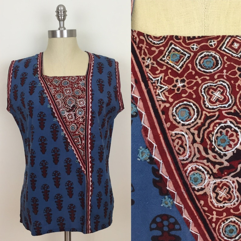 90s Blue Maroon Mirrored Indian Boho Hippie Sleeveless Blouse image 0