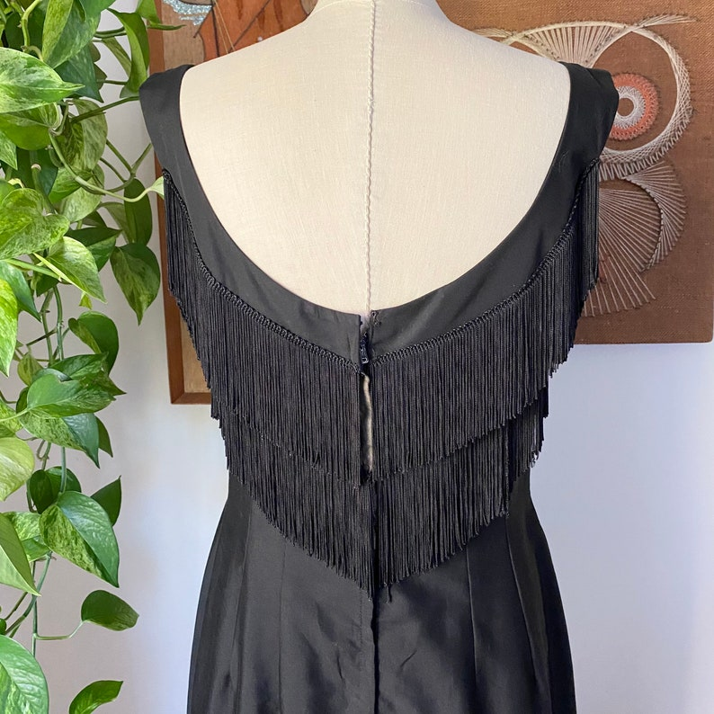 Size Large 50s Vintage Miami Casuals Black Fringed Bust Sleeveless Cocktail Wiggle Dress