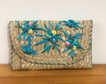 50s Turquoise Raffia Shell Straw Clutch Envelope Purse, Small Size