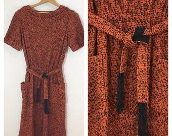 50s Carlye Pumpkin Orange Black Nubby Knit Day Dress, Size XS to Small