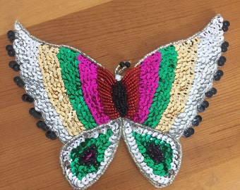 Vintage Large Sequined Butterfly Applique