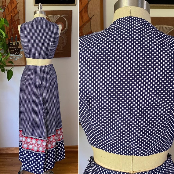 60s 70s Vintage Jr's. by Lounge Craft Navy and Re… - image 8