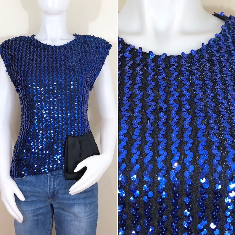 80s Glenrob Blue Sequin Asymmetrical Sleeveless Top NWT Size image 0