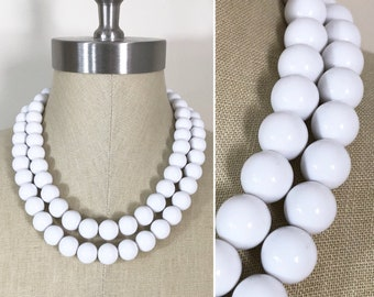 Vintage Style Large White Plastic Bead Double Strand Necklace