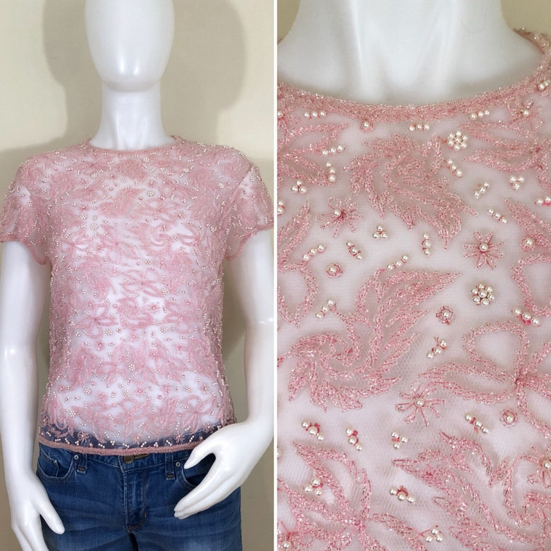 60s Pink Beaded Pearl Floral Sheer Mesh Short Sleeve Top Size image 0