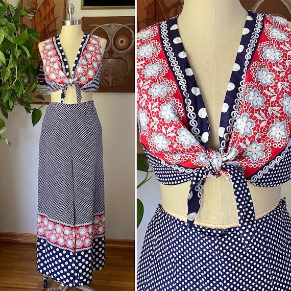 60s 70s Vintage Jr's. by Lounge Craft Navy and Re… - image 1