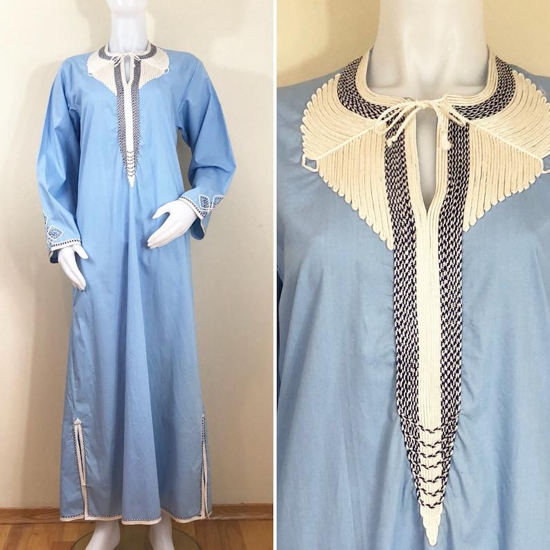 70s Light Blue Embroidered Kaftan Maxi Dress Women's image 0
