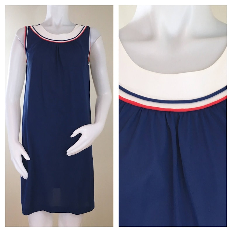 60s Lorraine Mod Navy Blue Red and White Nylon Shift image 0