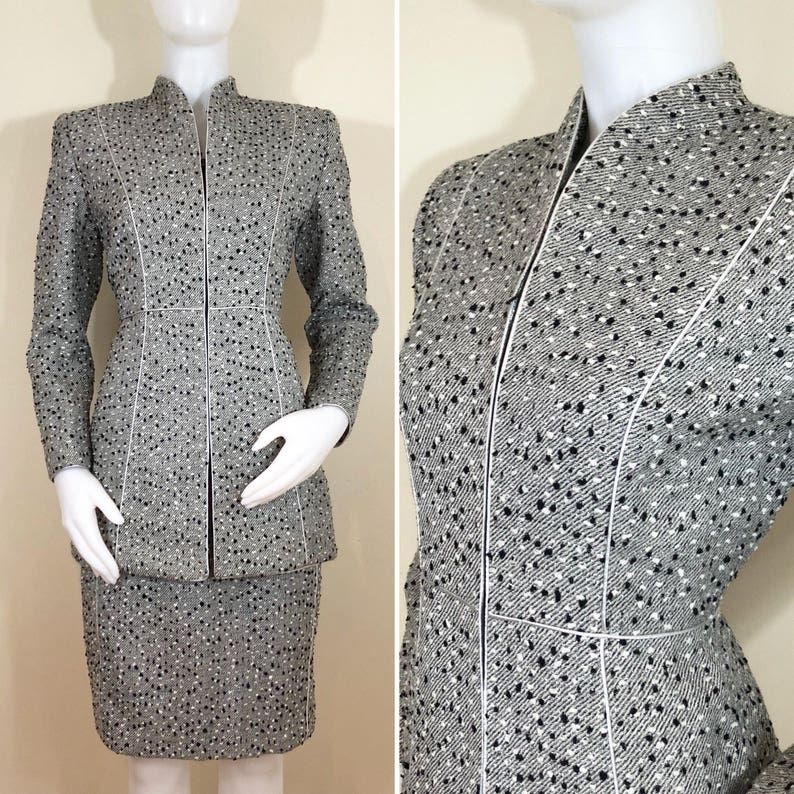 Vintage Mary McFadden Collection Gray Nubby Tweed Silver Wool image 0