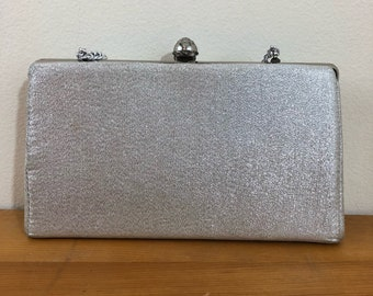 60s Silver Lurex Small Evening Purse with Chain Strap