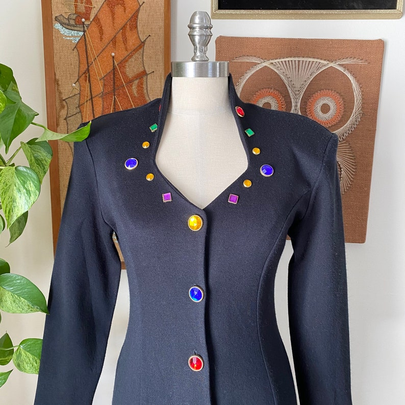Size XS to Small 80s 90s Vintage Dawn Joy Fashions Black Multicolor Jeweled Long Sleeve Sheath Dress