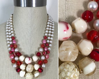 50s Vintage Cream, Pink, Red and Pearl Graduated Bead Triple Strand Statement Necklace