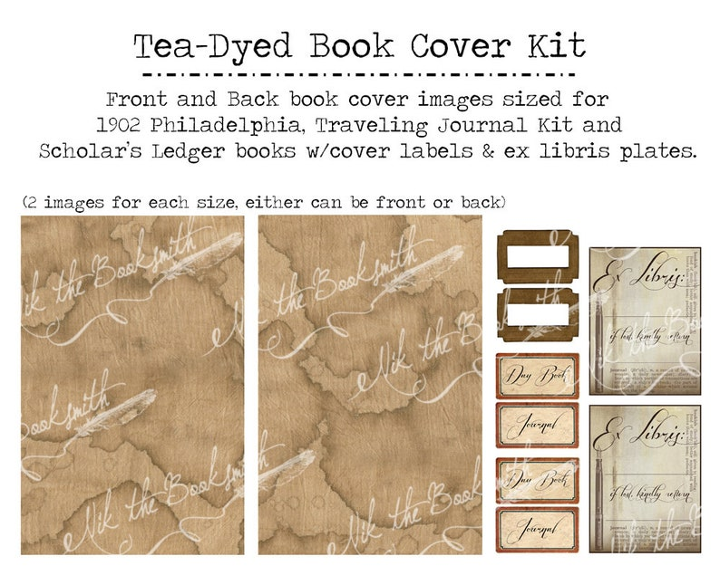Tea Dyed Book Cover Kit - 2 sizes - Perfect for Booksmith Courses or your  own journals (5 digital pages on PDF)