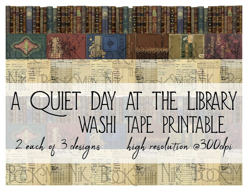 Washi Tape Printable - A Quiet Day at the Library - Great for journals,  mixed media, home decor, craft projects, planners and diaries