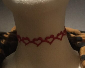 Handmade Red open heart ribbon choker necklace.