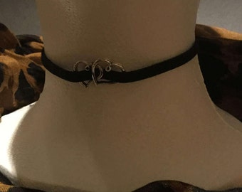 Handmade Black suede single cord with open heart pendant charm choker necklace.
