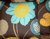 Two New Handmade Contemporary Modern 16 inch Chocolate Brown Blue Saffron Yellow Flower Print Designer Retro Cushion Covers,Pillow Cases,Pillow Covers, Pillowshams,Throw Pillow,NEW FABRIC