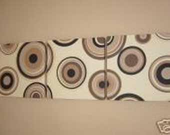 Handmade Set Of 3 Contemporary Modern Designer Retro Design Very Funky Brown Cream Circle Print Design Wall Hanging Canvases Wall Art.