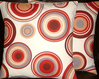 """2 16"""" Contemporary Red Brown Cream Circles Design Designer Retro Cushion Covers,Pillow Cases,Pillow Covers,Scatter Cushions,Pillow"""