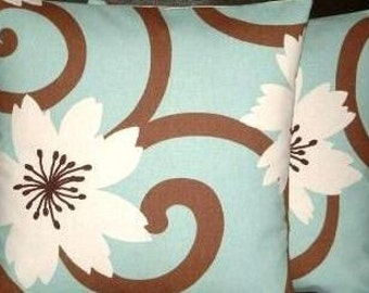 """2x 16"""" Contemporary Modern Duck Egg Blue Brown Designer Funky Cushion Covers,Pillow Cases,Pillow Covers,Pillow"""